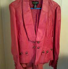 vintage 80s red leather jacket sz 18