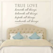 Amazon Com Love Scriptures 1 Corinthians 13 7 Wall Art True Love Endureth All Things Vinyl Scripture Wall Decals Christian Home Decor For The Bedroom Living Room Or Dining Room Handmade