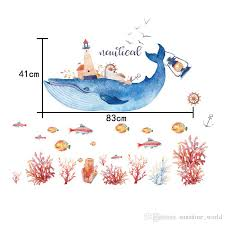 Undersea Whale Coral Reef Pvc Wall Sticker Living Room Kids Room Watercolor Diy Art Mural Decals Dorm Official Decoration Home Decal Stickers Home Decals From Sunshine World 5 91 Dhgate Com
