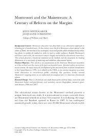 pdf montessori and the mainstream a