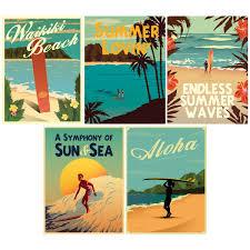 Hawaii Beach Surf Wall Decal Set At Retro Planet