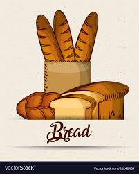 paper bag toasts croissant vector image