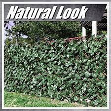 Colourtree Retractable Expandable Faux Artificial Ivy Trellis Fence Privacy Scree N Wall Screen Commercial Grade 150 Gsm Heavy Duty 3 Years Single Sided Leaves 2 Set Amazon Ca Patio Lawn Garden