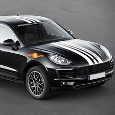 Porsche Design Macan Turbo Full Body Central Hood Roof Spoiler Rear Stripes Decal Sticker 2014 Present