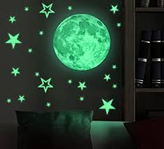 Amazon Com Marsway Kids Removable Moon Stars Glow In The Dark Sticker Night Luminous Room Wall Decal Stickers Beauty