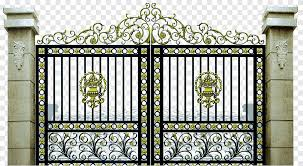 Black And Brown Metal Gate Gate Wrought Iron Fence Driveway Beautiful Iron Gate Atmosphere Outdoor Structure Png Pngegg