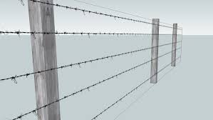 Barbed Wire Fence With 3 Posts 3d Warehouse