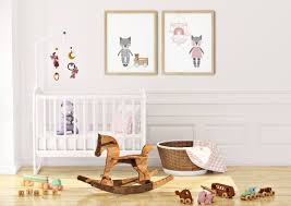 Modern Cats Art Print Set Printable Nursery Art Cat Toys Mobile Kids Room Baby Room Wall Girl Nursery Decor Set 2 Prints
