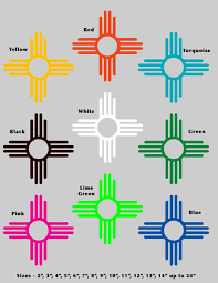 9 Colors New Mexico Flag 575 Nm Zia 15 Sizes Vinyl Stickers Rainbowlands Lk