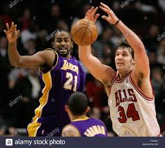Los Angeles Lakers Ronny Turiaf (21) and Chicago Bulls' Aaron Gray (34) go  for a loose ball during the second quarter in Chicago on December 18, 2007.  (UPI Photo/Brian Kersey Stock Photo - Alamy