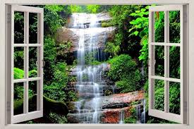 Waterfall Forest Dinosaur Fantasy 3d Window View Decal