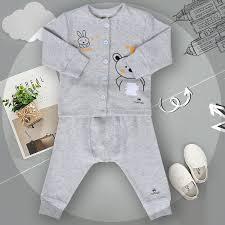 Quần áo sơ sinh Mamago in hình gấu và thỏ (Ghi) - Kidsplaza