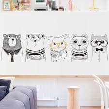 bear rabbit wall stickers black white