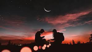 playing guitar sunset half moon