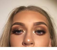 gold eye makeup honey blonde