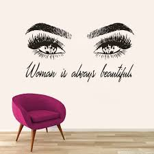 Eyelashes Extensions Wall Art Sticker Beauty Lettering Wall Decal Eyebrows Make Up Studio Vinyl Sticker Beauty Salon Decor Az116 Wall Stickers Aliexpress