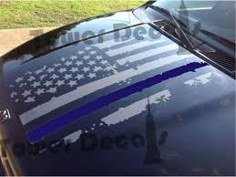 Distressed American Flag Hood Thin Blue Line Police Decal Fits Jeeps Dodge Ram Ford Chevy Trucks Chevy Trucks Chevy Diesel Trucks Diesel Trucks