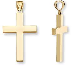18k gold men s polished cross pendant