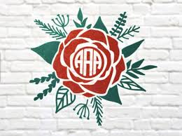 Rose Flower Monogram Decal For Your Yeti Rtic Phone Car Or Any Other Surface That You Wish To Personalize Yeti Cup Designs Monogram Decal Crafts