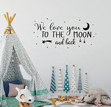Wall Decal Kids We Love You To The Moon And Back Quote Wall Decals Nursery Vinyl For Sale Online