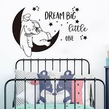 Best Discount 92ab7 Cartoon Dumbo Moon Star Dream Big Little One Wall Sticker Nursery Kids Room Dumbo Elephant Inspire Quote Wall Decal Vinyl Decor Cicig Co