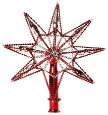 glass tree topper red silver