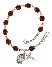 silver plate birthstone rosary bracelet