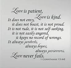 Amazon Com 1 Corinthians 13 4 8 Love Is Patient Love Is Kind Love Never Fails Vinyl Wall Decal Christian Scriptural Bible Quote Large Size 20 X22 Home Kitchen