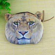 lion face zipper case coin purse
