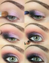 green eyes make up lilac eye shadow