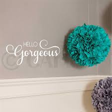 Amazon Com Hello Gorgeous Vinyl Lettering Wall Decal Sticker White Arts Crafts Sewing