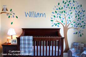 Tree Wall Decal With Boy Owl Wall Fabric Decal