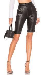 brognano faux leather biker short in