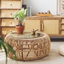 34 round woven rattan accent