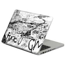 Black Raffiti Writing Laptop Skin Cover 3d Protector Sticker Hollow Out For Apple Macbook Air Pro Retina Laptop Decal Stickers Laptop Skin Cover Laptop Decal