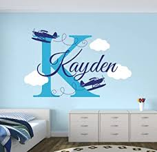 Amazon Com Airplanes Personalized Name Wall Decal Nursery Wall Decals Baby Room Decor Custom Wall Decal Vinyl Sticker Baby