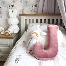 Amazon Com Momaid Velvet Letter Pillow Soft Initial Throw Cushion Decorative Alphabet Kids Room Nursery Decor Baby Toddler Gift Dusty Rose Letter J Home Kitchen
