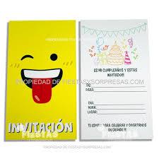 Tarjetas De Invitacion Emoji Paquete X 10 Fiestas Y Sorpresas