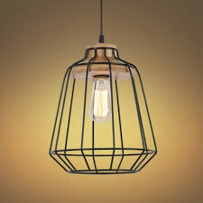 led pendant light with black wire frame