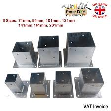 Heavy Duty Galvanised Bolt Down Square Post Fence Foot Base Support 71 201mm Ebay
