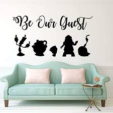 Amazon Com Be Our Guest Wall Decal Beauty And The Beast Lumiere Mrs Potts Chip Cogsworth And Featherduster Handmade