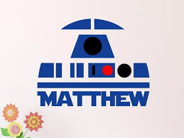 Star Wars R2d2 Wall Decal Custom Personalized Name Removable Wall De Decals By Droids
