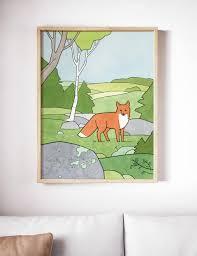 Red Fox Wilderness Kids Room Art Print Studiotuesday