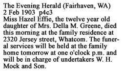 Hazel Effie Greene (1891-1903) - Find A Grave Memorial