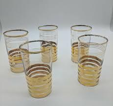 mcm 22k 5 gold striped glasses tumblers