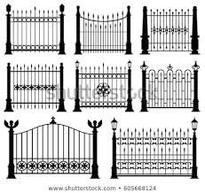 Vector Images Illustrations And Cliparts Decorative Wrought Fences And Gates Vector Set Black Silhouette Fence Frame Illustration Hqvectors Com