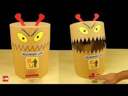 Diy Funny Toy Trash Can From Cardboard Diy Dustbin At Home How To Make Toys Funny Crafts For Kids Toys From Trash