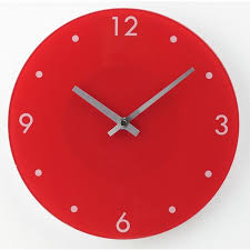 argos home round glass wall clock red