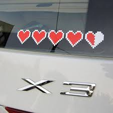Heart Container Car Decal Heart Stickers Geeky Vintage Video Games
