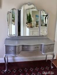 silver vanity table with mirror